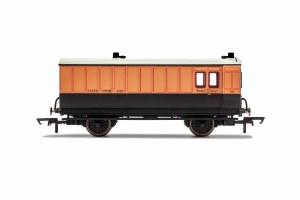 Hornby OO R40064 LSWR, 4 Wheel Coach, Brake Baggage, 140 - Era 2