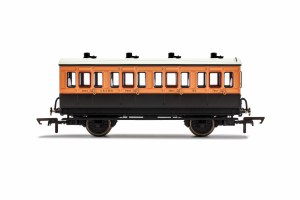 Hornby OO R40107 LSWR, 4 Wheel Coach, 1st Class, Fitted Lights, 123 - Era 2