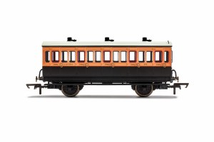 Hornby OO R40108 LSWR, 4 Wheel Coach, 3rd Class, Fitted Lights, 302 - Era 2