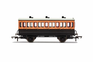 Hornby OO R40108A LSWR, 4 Wheel Coach, 3rd Class, Fitted Lights, 308 - Era 2