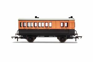 Hornby OO R40110 LSWR, 4 Wheel Coach, Brake 3rd Class, Fitted Lights, 179 - Era 2