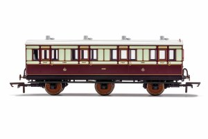 Hornby OO R40119 LNWR, 6 Wheel Coach, 1st Class, Fitted Lights, 1889 - Era 2