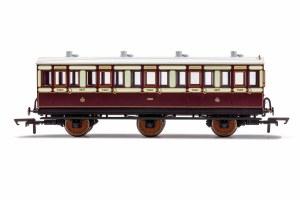 Hornby OO R40120A LNWR, 6 Wheel Coach, 3rd Class, Fitted Lights, 4671 - Era 2