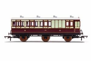 Hornby OO R40122 LNWR, 6 Wheel Coach, Brake 3rd Class, Fitted Lights, 7463 - Era 2