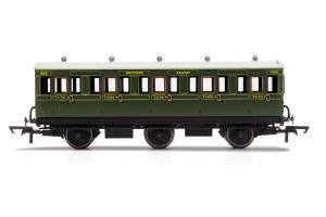 Hornby OO R40132 SR, 6 Wheel Coach, 3rd Class, Fitted Lights, 1908 - Era 3