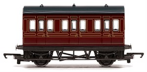 Hornby RailRoad OO R4671 Four Wheeled Coach LMS Lined Crimson