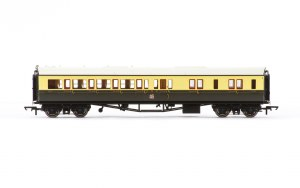 Hornby OO R4681A Collett 'Bow Ended' Brake Third Corridor Left Hand 4942 GWR Chocolate & Cream (Crest)
