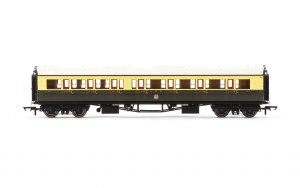 Hornby OO R4683A Collett 'Bow Ended' Composite Corridor Right Hand 6527 GWR Chocolate & Cream (Crest)