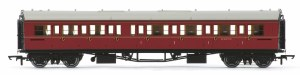 Hornby OO R4767 Collett 'Bow Ended' Composite Corridor Right Hand W6137W BR Maroon