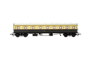 Hornby OO R4874 Collett 'Bow Ended' E131 Nine Compartment Composite Left Hand 6360 GWR Chocolate & Cream (Shirtbutton)