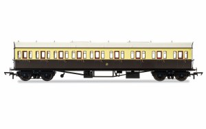 Hornby OO R4875 Collett 'Bow Ended' E131 Nine Compartment Composite Right Hand 6362 GWR Chocolate & Cream (Shirtbutton)