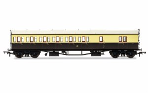 Hornby OO R4876 Collett 'Bow Ended' D98 Six Compartment Brake Third Left Hand 4971 GWR Chocolate & Cream (Shirtbutton)