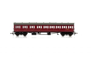 Hornby OO R4878A Collett 'Bow Ended' E131 Nine Compartment Composite Left Hand W6237W BR Crimson