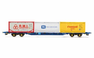 Hornby OO R6957 Tiphook, KFA Container wagon, 93437, with 3 x 20' tanktainers; Contank/RMI/Tate & Lyle - Era 11