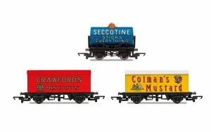 Hornby OO R6990 Hornby 'Retro' Wagons, three pack, Crawfords Biscuits, Seccotine Tanker, Coleman's Mustard
