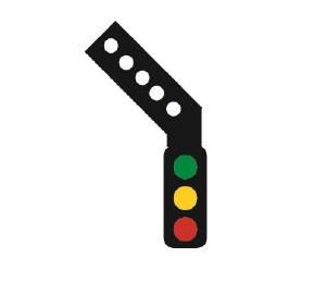 Train Tech OO SS3L Sensor Signal 3 Aspect Home Distant Sensor Signal with Left Feather