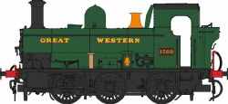 Class 1366 0-6-0PT 1369 GWR Green with Great Western lettering as Preserved