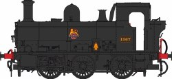 Class 1366 0-6-0PT 1367 BR Black Early Emblem