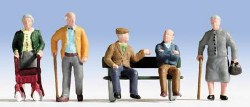 Senior Citizens (5) and Bench (HO Scale)
