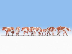 Brown & White Cows, 7 Figure Set