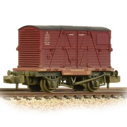Conflat Wagon BR Bauxite (Early) With BR Crimson BD Container - Weathered - Includes Wagon Load