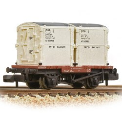Conflat Wagon BR Bauxite (Early) With 2 BR White AF Containers - Weathered - Includes Wagon Load