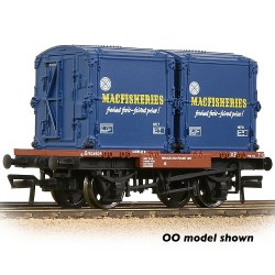 Conflat Wagon BR Bauxite (Early) With 2 'Mac Fisheries' AF Containers - Includes Wagon Load
