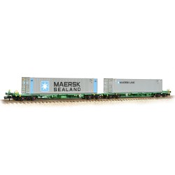 FIA Intermodal Bogie Wagons With 'Maersk line' 45ft Containers - Includes Wagon Load