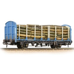BR OTA Timber Wagon 'Kronospan' Blue - Weathered - Includes Wagon Load