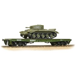 Warflat Bogie Flat Wagon WD Khaki Drab Livery with Tank