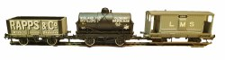 LMS 20 Ton Brake Van, Midland Distillers Tank Wagon and Rapps & Co 7 Plank Wagon