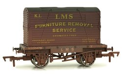 Conflat A Wagon LMS Grey with LMS Container Weathered