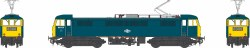 Class 86/0 BR Rail Blue 86036 with double arrow logo, full yellow ends and orange cantrail stripes