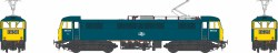 Class 86/0 BR Rail Blue 86034 with double arrow logo, full yellow ends WEATHERED