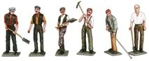 Workmen with Tools cast white metal
