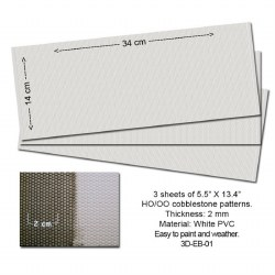 Embossed PVC Sheets (Cobblestone) 3 pcs. 14X34 cm Thick.: 2mm