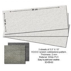 Embossed PVC Sheets (Random Cobblestone) 3 pcs. 14X34 cm Thick.: 2mm