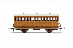 GNR, 4 Wheel Coach, 3rd Class, Fitted Lights, 1636 - Era 2