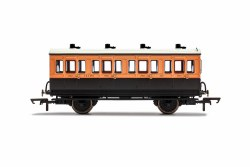 LSWR, 4 Wheel Coach, 1st Class, Fitted Lights, 123 - Era 2