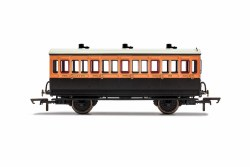 LSWR, 4 Wheel Coach, 3rd Class, Fitted Lights, 308 - Era 2