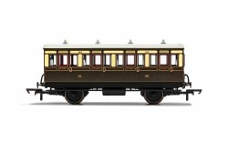 GWR, 4 Wheel Coach, 1st Class, Fitted Lights, 143 - Era 2/3