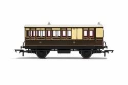 GWR, 4 Wheel Coach, Brake 3rd Class, Fitted Lights, 301 - Era 2/3