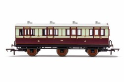 LNWR, 6 Wheel Coach, 1st Class, Fitted Lights, 1889 - Era 2