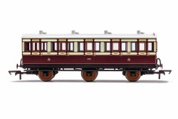 LNWR, 6 Wheel Coach, 3rd Class, Fitted Lights, 1523 - Era 2