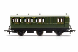 SR, 6 Wheel Coach, Brake 3rd Class, Fitted Lights, 3750 - Era 3