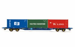 Tiphook, KFA Container wagon, 93390, with 3 x 20' containers; Delmas/Hatsu/'K' Line - Era 11