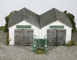 Station Garage with vintage pumps and oil cabinet