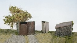 Grotty Huts and Privy