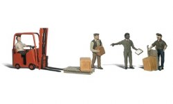 Workers with Forklift  (HO Scale)