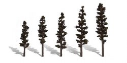 5 Standing Timber Trees Conifer 2.5-4in 6.35-10.16cm